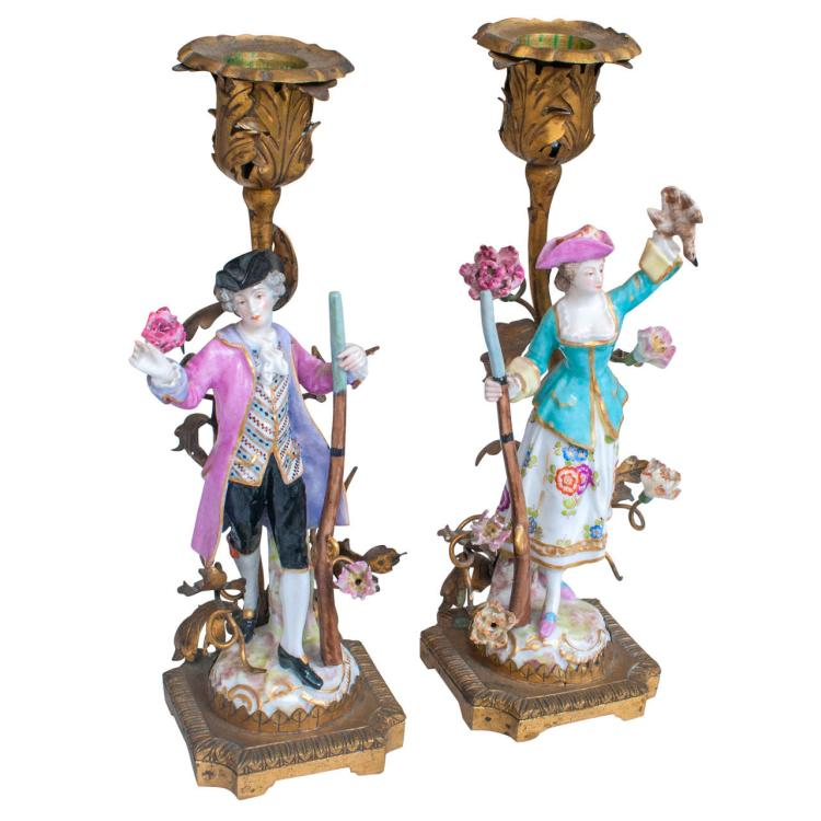 Pair of Porcelain and Ormolu Candlesticks.