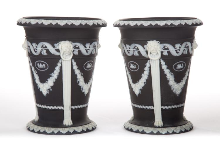 Pair of Black Wedgwood Jasperware Neoclassical Planters