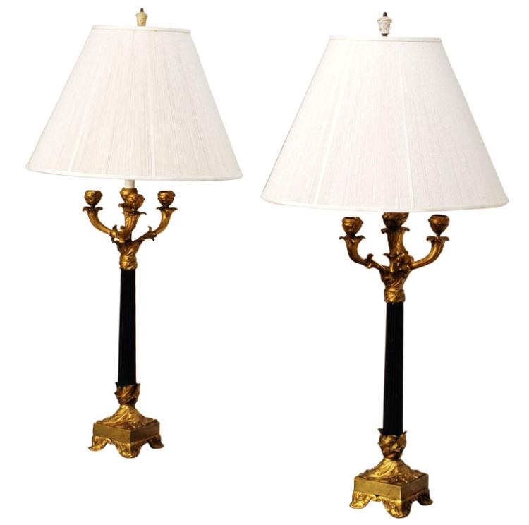 Pair of Art Nouveau Candelabra Lamps