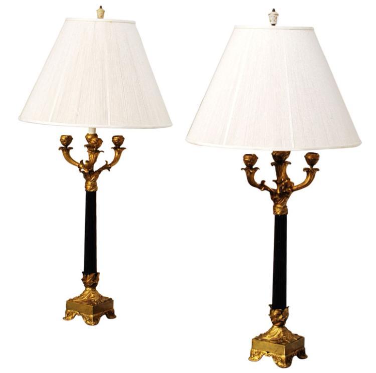 Pair of Art Nouveau Candelabra Lamps