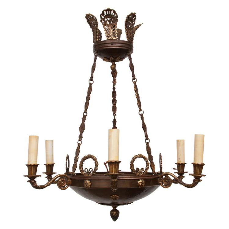 Six Light Empire Style Chandelier