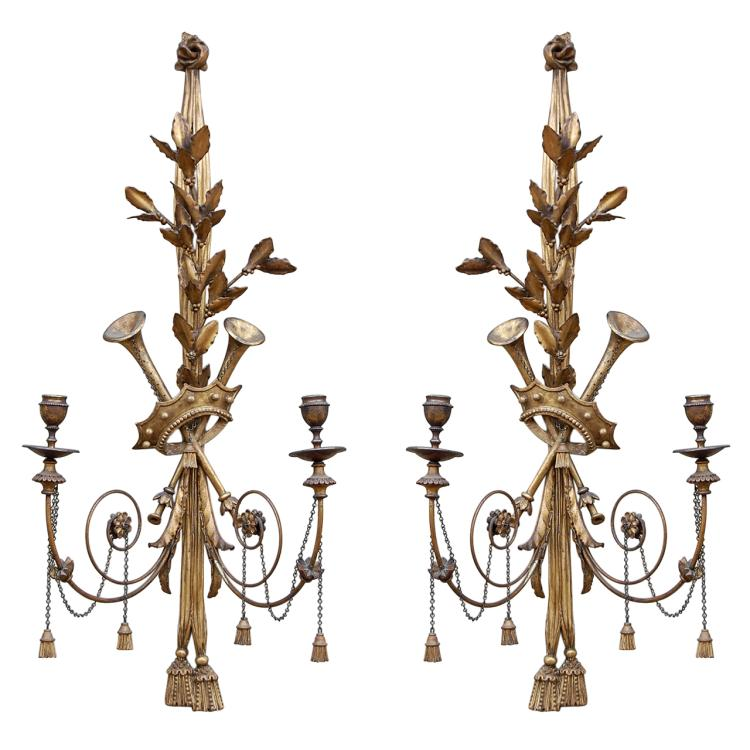 Pair of Musical Neoclassic Sconces