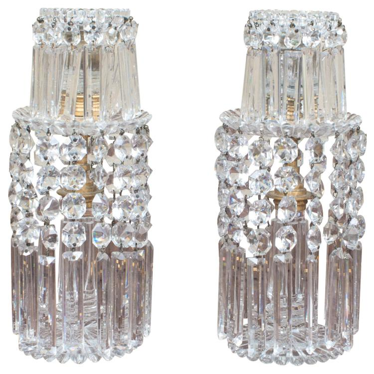 Pair of Regency Crystal Sticks