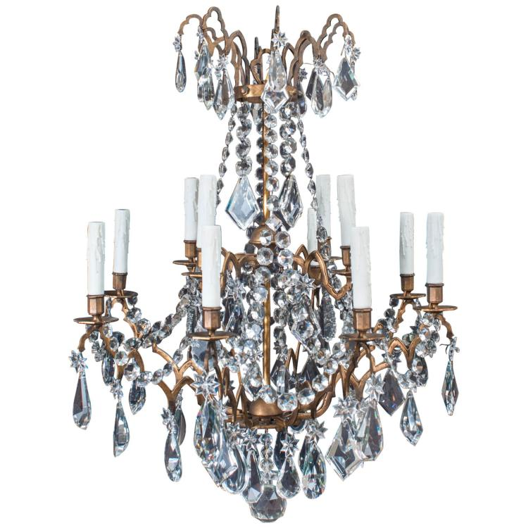 Large Bronze and Crystal 12-Light Chandelier