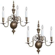 Pair of 3-Light Brass Sconces