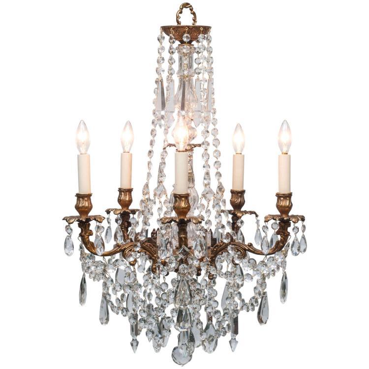 Louis XVI Style Brass & Crystal Chandelier