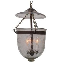 Bell Jar Lantern with Grape and Vine Etched Design