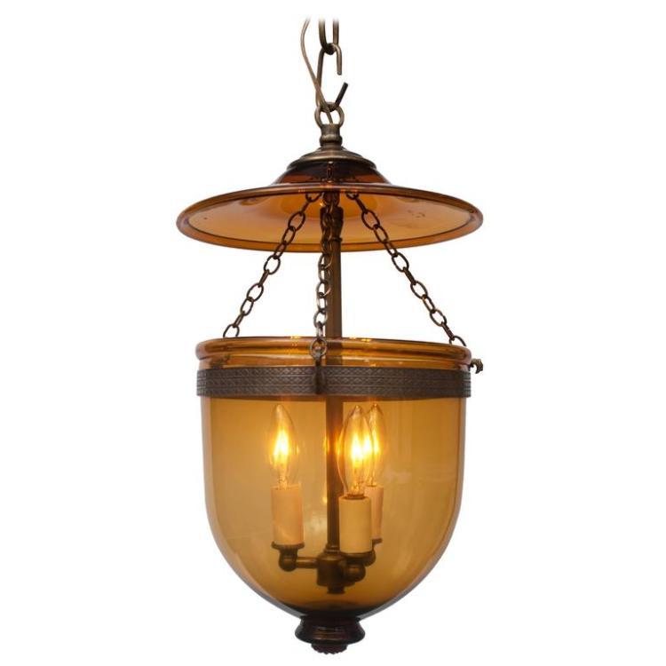 Amber Bell Jar Lantern