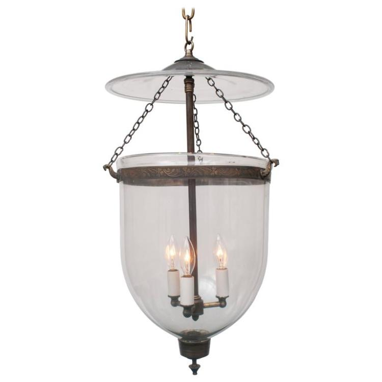 Clear Bell Jar Lantern, Brass Finial