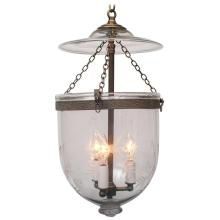 Spear-Etched Bell Jar Lantern with Glass Pontil