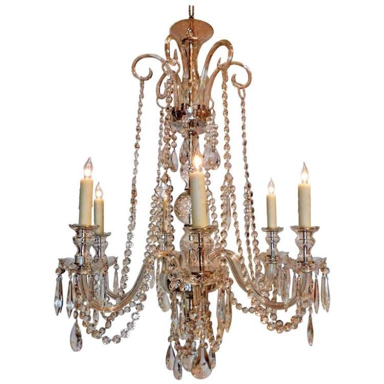 Six-Light Regency Style Crystal Chandelier