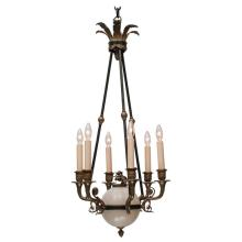 Bronze and Alabaster Six-Light Empire Style Chandelier