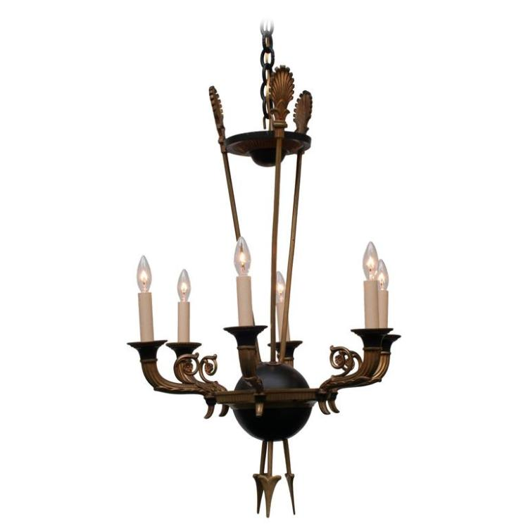 Unusual Empire Style Arrow Bronze Chandelier