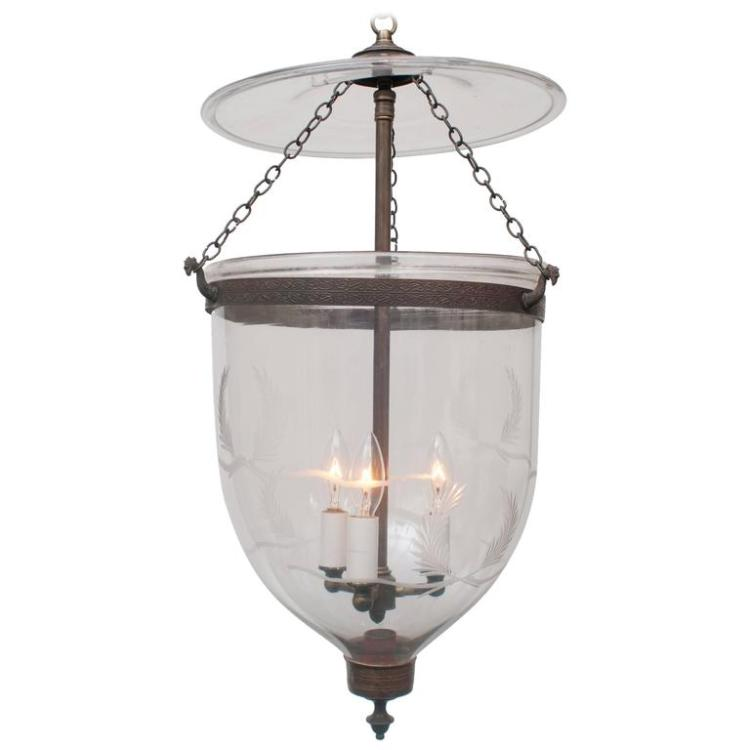 Bell Jar Lantern, Etched Laurel Wreath with Ribbon, Brass Finial