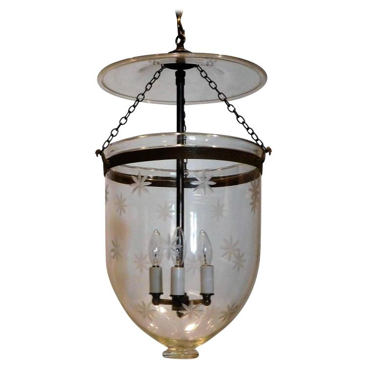 Star Etched Bell Jar Lantern