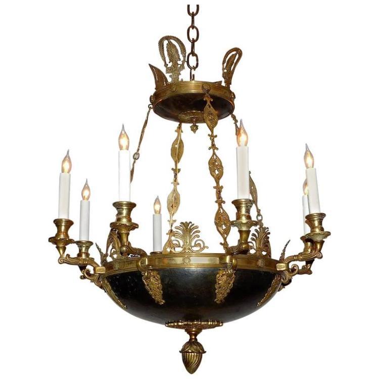 Eight Light Empire Style Chandelier