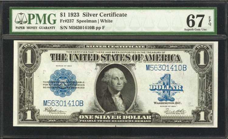 Fr. 237. 1923 $1 Silver Certificate. PMG Superb Gem Uncircul
