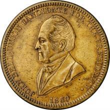 1860 John Bell Political Medal. DeWitt-JBELL 1860-7. Brass. Plain Edge. 28 mm. About Uncirculated.