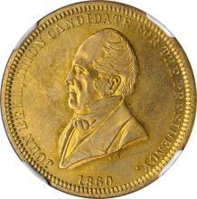 1860 John Bell Political Medal. DeWitt-JBELL 1860-7. Brass. 28 mm. MS-66 (NGC).