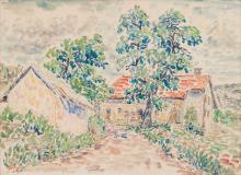 Moritz Melzer (Albendorf 1877 - Berlin 1966). Farm House under Trees.