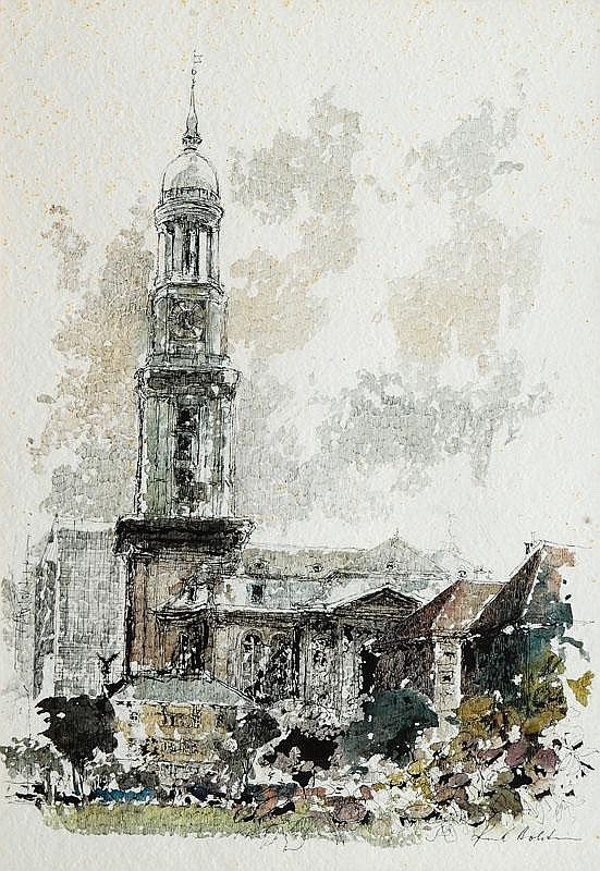 Holstein, Karl.  Hamburg-Eimsbüttel 1912 - Hamburg 2003  St. Michael's Church in Hamburg