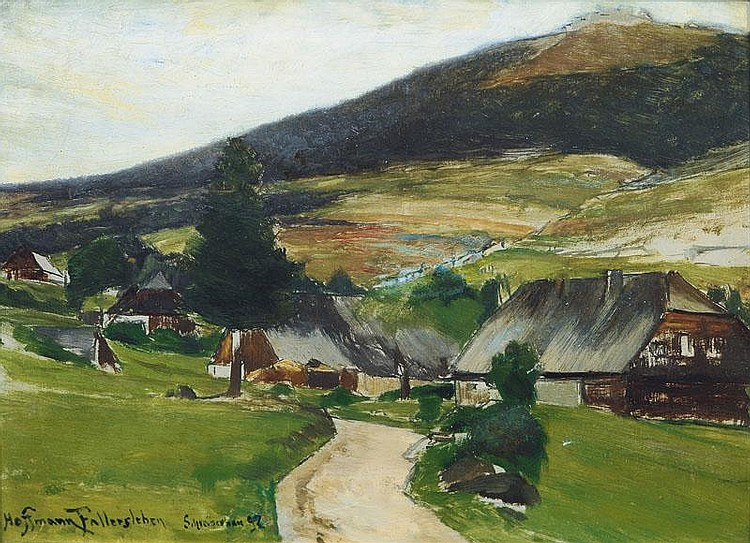 Hoffmann-Fallersleben, Franz.  Weimar 1855 - Berlin 1927  Village in a Valley