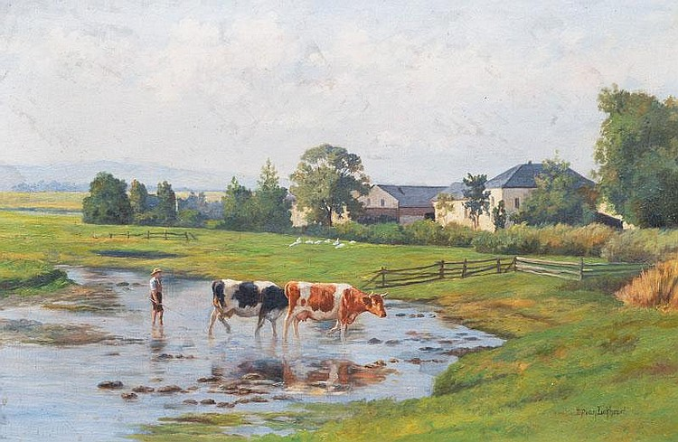 Lokhorst, Dirk Peter van.  Utrecht 1848  Cows and Herder at the Ford