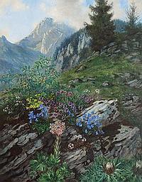 Bartning, Ludwig. Hamburg 1876 - Berlin 1956 Flower Meadow in the Alps