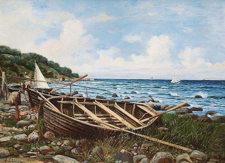 Schleich, Hans.  Stettin 1834 - Berlin 1912  Rowboats on the Shore near Misdroy on Wolin