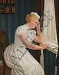 Jessen, Carl Ludwig.  Deezbüll/Tond. 1833 - Deezbüll/Tond. 1917  Reading young Woman at a Window, Carl Ludwig Jessen, Click for value
