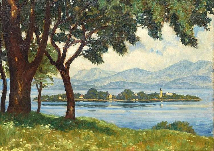 Hause, Rudolf.  Strasburg 1877 - München 1961  View on the Chiemsee