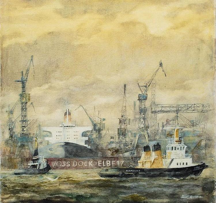 Holstein, Karl.  Hamburg-Eimsbüttel 1912 - Hamburg 2003  View on a Dock of Blohm & Voss Shipyard