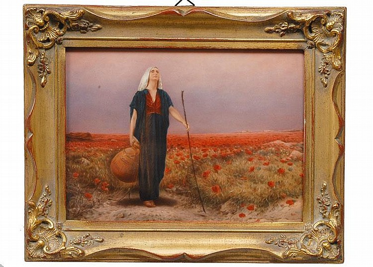 A porcelain painting 'The blind woman in a poppy field'