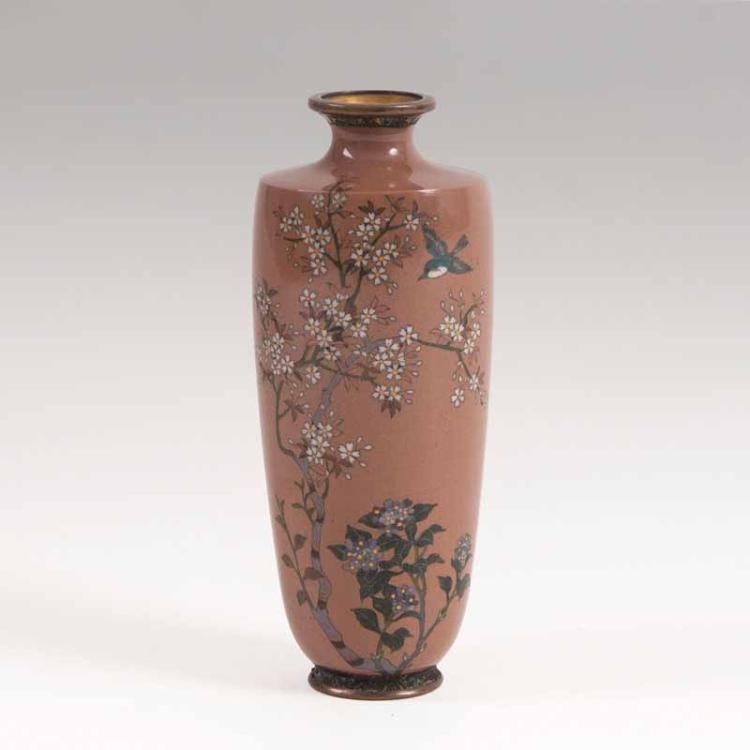 a cloisonn rouleau vase with flower decor. Black Bedroom Furniture Sets. Home Design Ideas