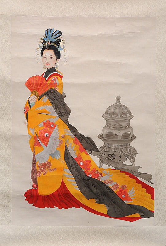 Chinese beauty with orange costume