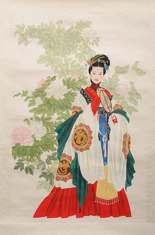 Chinese beauty with peony flowers