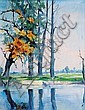 Trees by a Lake, Julius Christian Rehder, Click for value