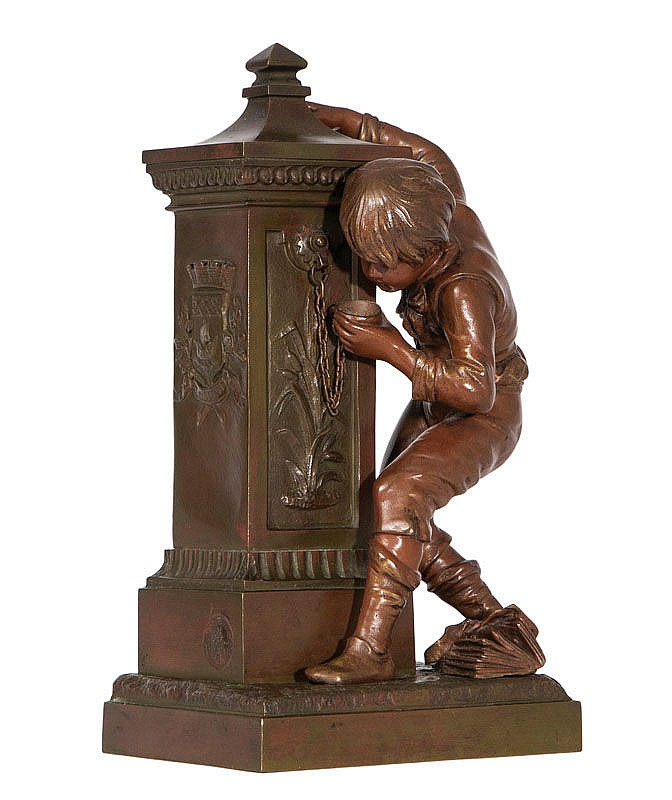 A bronze figure 'Boy at the fountain'