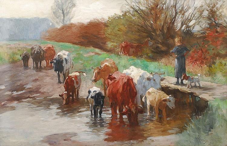 Herbst Thomas Hamburg 1848 Hamburg 1915 Cows