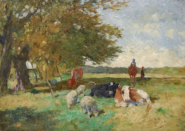 Herbst Thomas Hamburg 1848 Hamburg 1915 Cows and