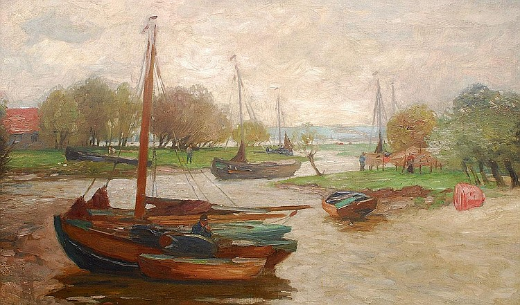Herbst Thomas Hamburg 1848 Hamburg 1915 Boats in a