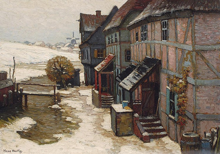 Hans Hartig Carvin 1873-1936. Houses in wintertime