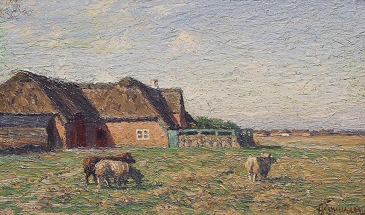 Franz Korwan Heinebach 1865-1942. Sheep Oil/panel,