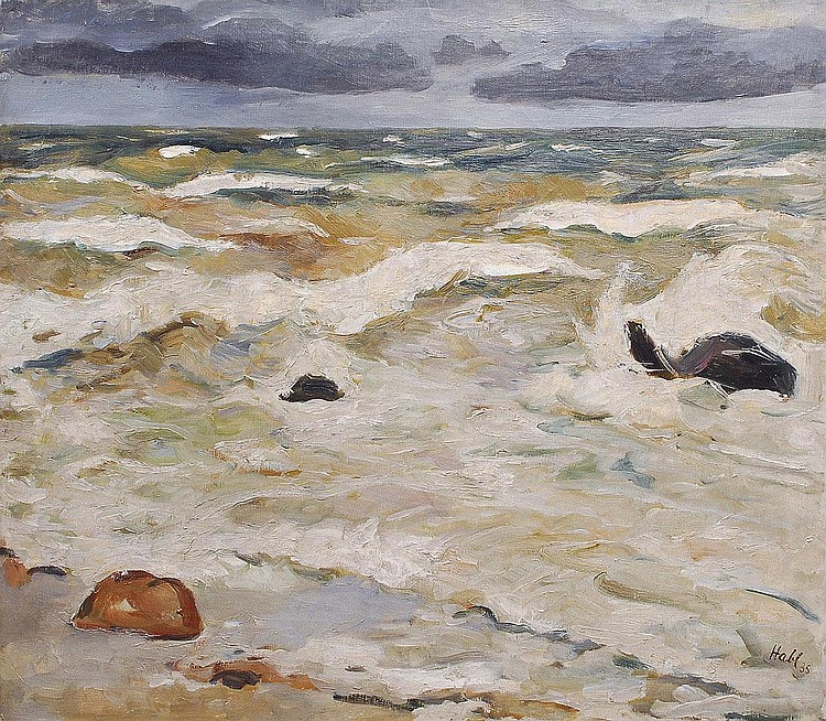 Willy Habl Engeln 1888-1964. The surf Oil/canvas,