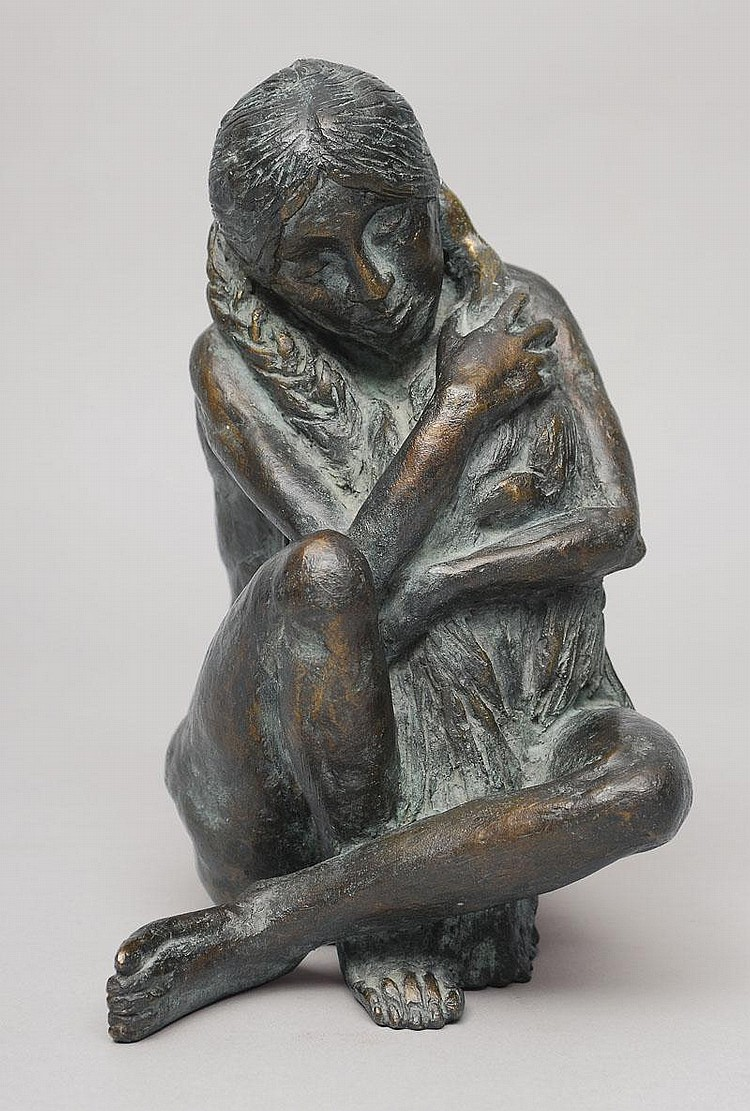 Edelmann Hanno 1923 A bronze figure 'Leda with the