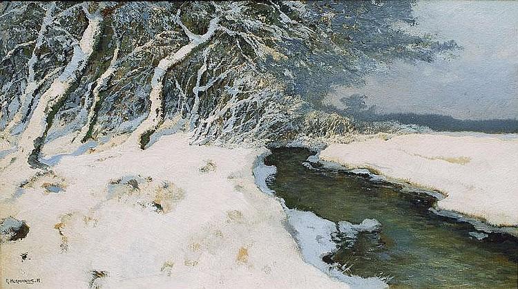 Hermanns Rudolf 1860 - 1935 A stream in wintertime