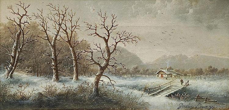 Lange Gustav 1811 - 1887 A winter landscape