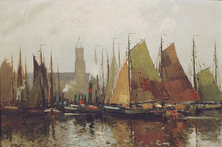 Wild Otto 1898 - 1971 A harbour with sailing boats