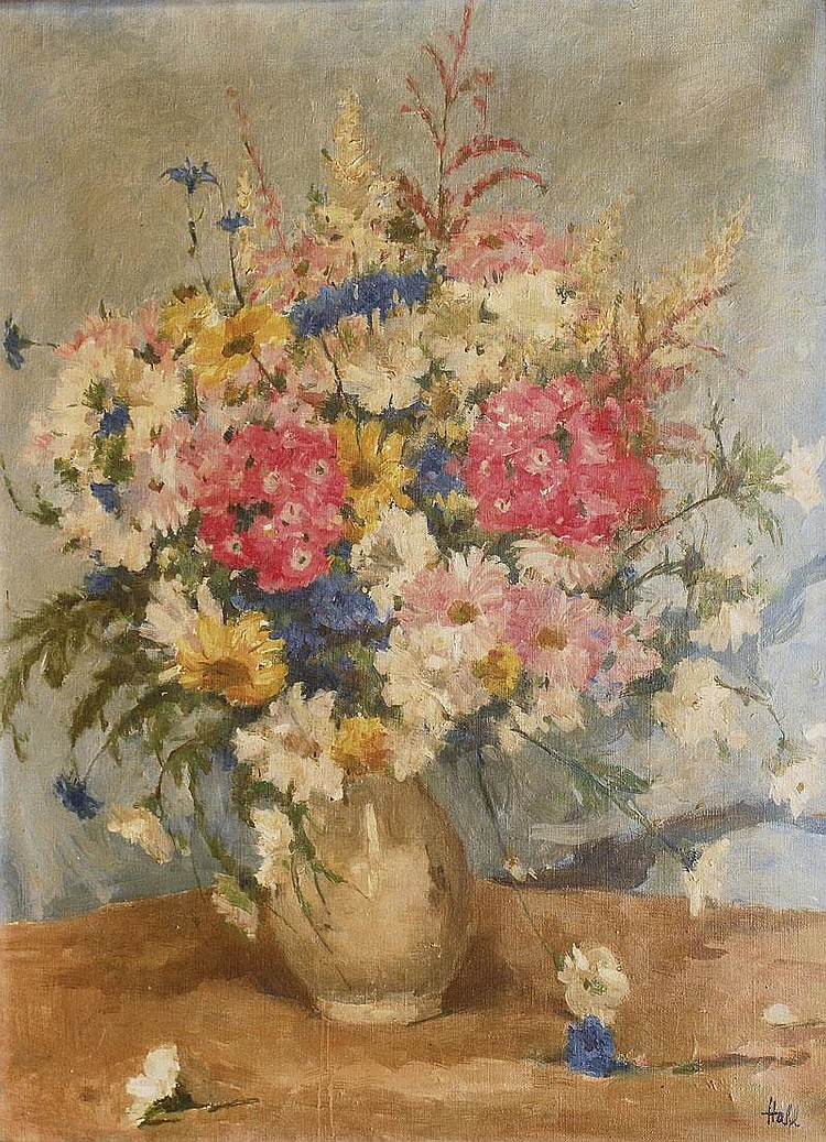 Habl Willy 1888 - 1964 Flowers Oil/canv., 65 x