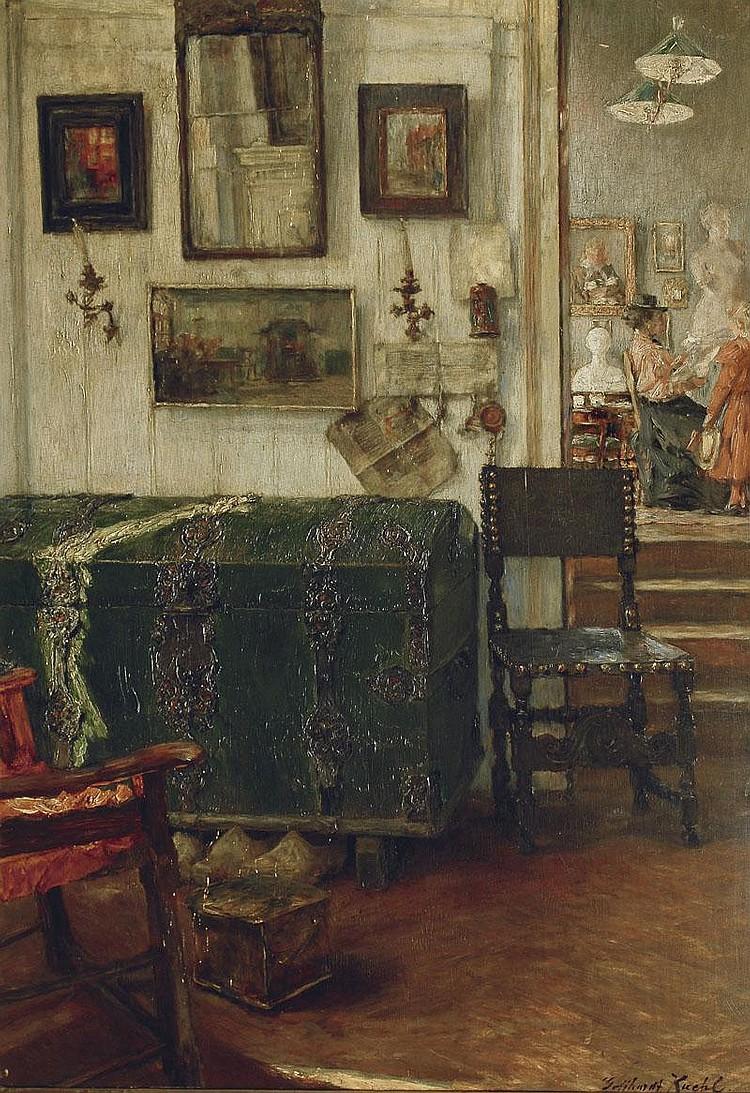 Kuehl Gotthardt 1850 - 1915 An interior Oil/panel,
